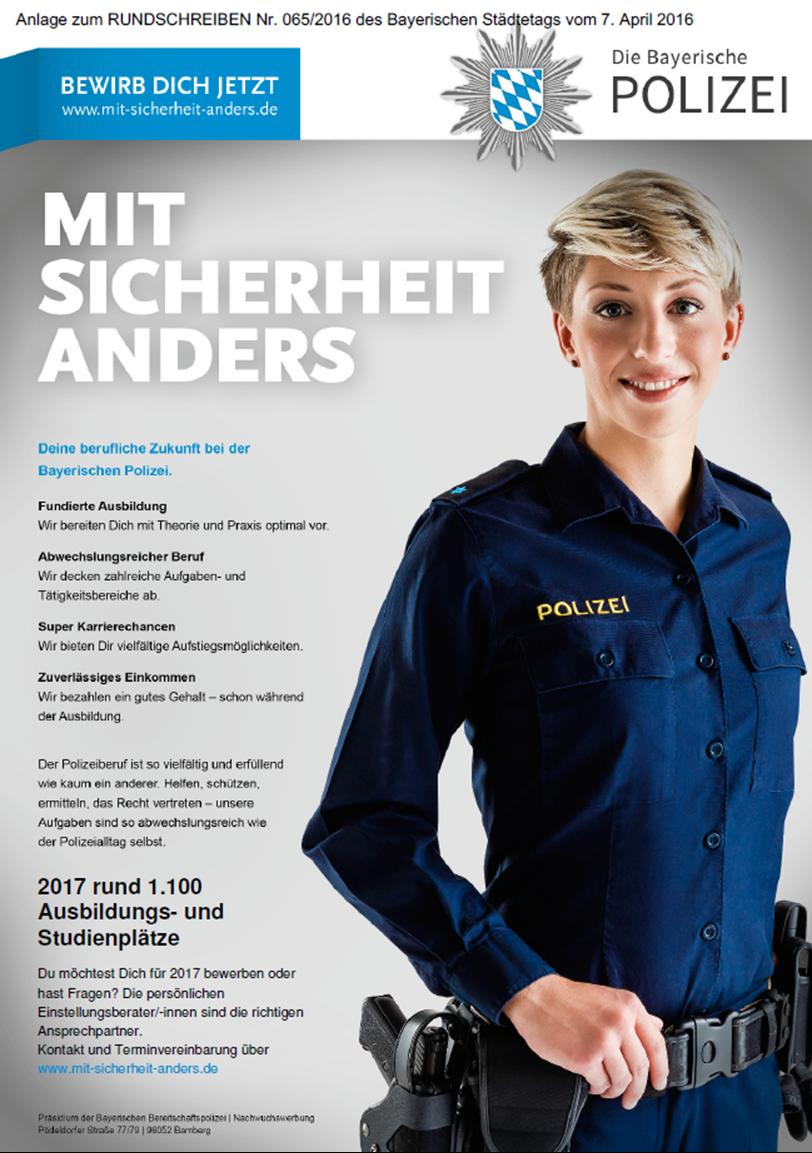 daneben sind bewerbungen fr die im september 2017 beginnende ausbildung mglich bewerbungsschluss ist hier der 31102016 - Polizei Bayern Bewerbung